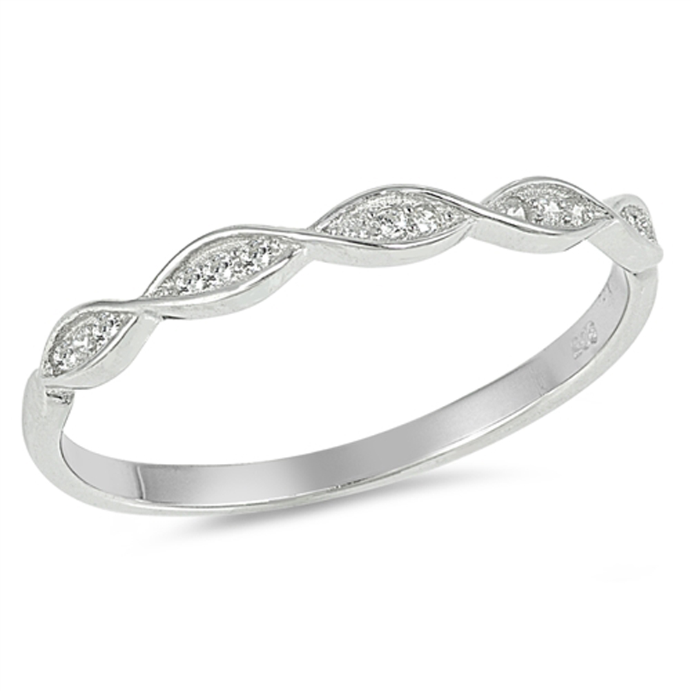 White CZ Thin Stackable Infinity Wedding Ring ( Sizes 4 5 6 7 8 9 10 ) Sterling Silver Band Rings by Sac Silver (Size 8)