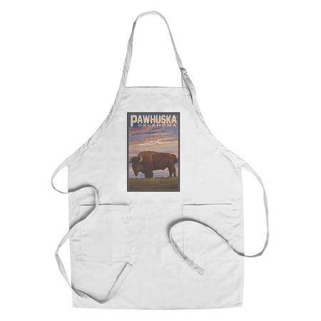 Oklahoma State Apron - Pawhuska, Oklahoma - Buffalo & Sunset - Lantern Press Artwork (Cotton/Polyester Chef's Apron)