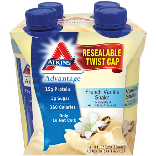Atkins Advantage Vanilla Shake, 11 fl oz, 4ct