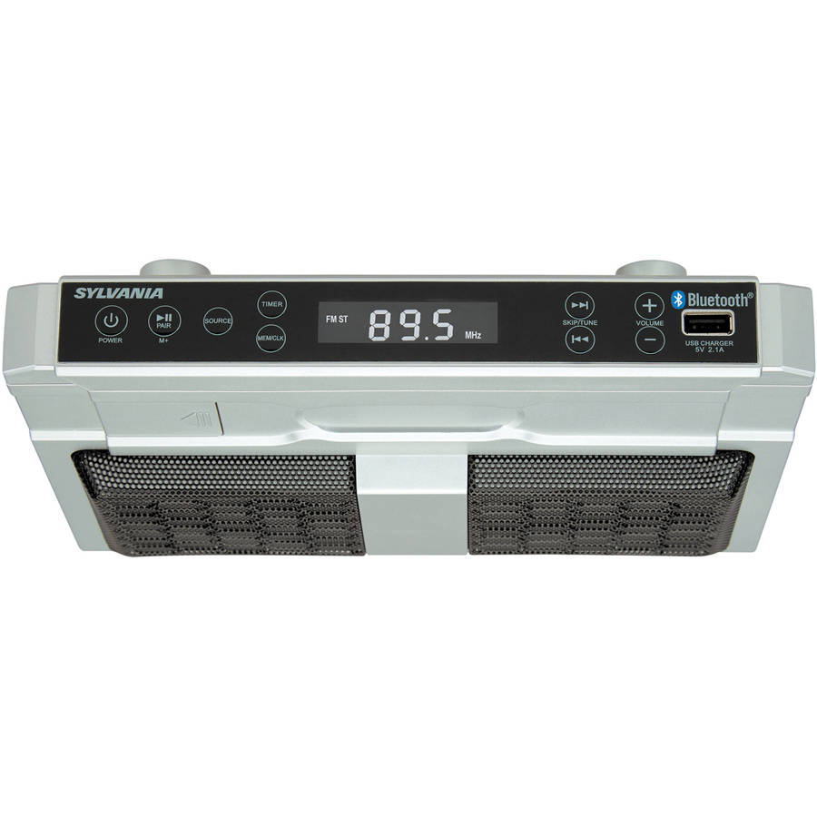 kitchen radio under cabinet bluetooth sylvania r skcr2810bt bluetooth r cabinet kitchen 8404