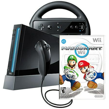 Nintendo Black Wii Console w/ Mario Kart