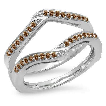 Dazzlingrock Collection 0.30 Carat (ctw) 14K Champagne Diamond Ladies Wedding Enhancer Guard Ring 1/3 CT, White Gold, Size 10