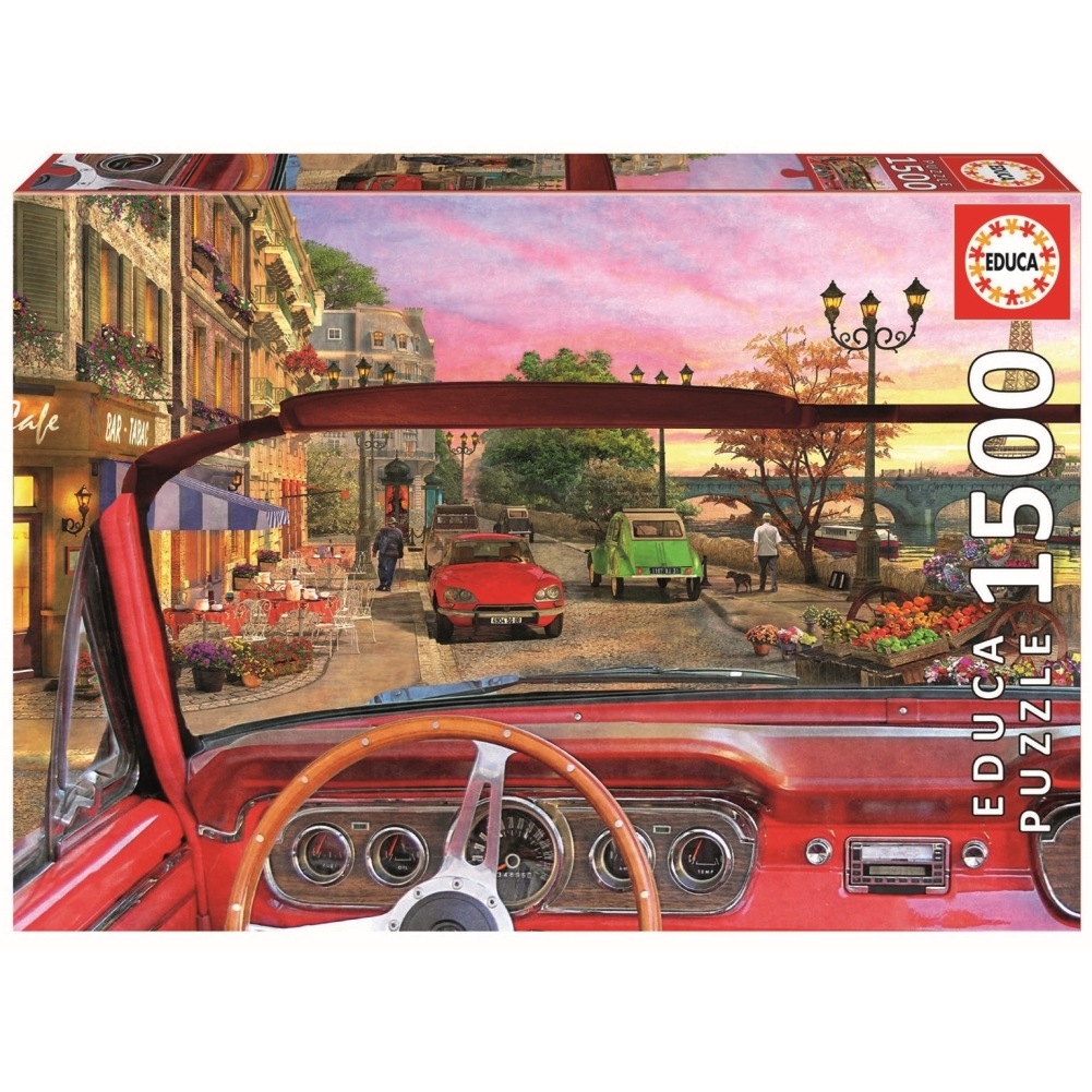 Paris in a Car 1500 Piece Puzzle,  France by John N. Hansen