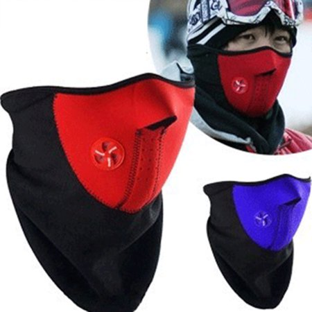 Bicyle Cycling Motorcycle Winter Sports Ski Snowboard Hood Wind Stopper Face Mask Headwear Thermal Fleece Black