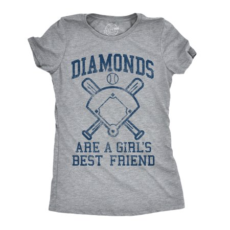 Womens Diamonds Are A Girls Best Friend Tshirt Funny Cute Baseball For