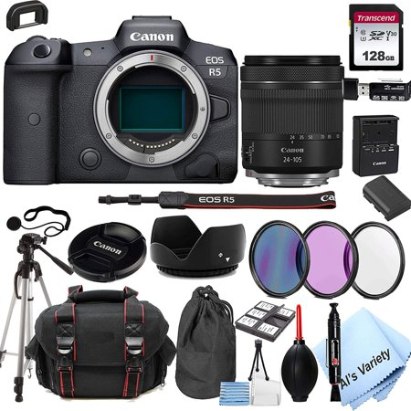 Canon EOS R5 Mirrorless Digital Camera with 24-105mm f/4-7.1 Lens Bundle + 128GB Memory + Case + Filters + Tripod (24pc Bundle)