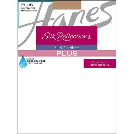 Hanes Silk Reflections Plus Sheer Control Top Enhanced Toe