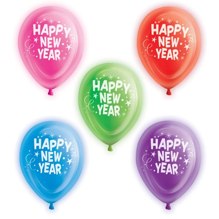 10 Happy New Year Led Light Up Balloons 5 Count Walmartcom