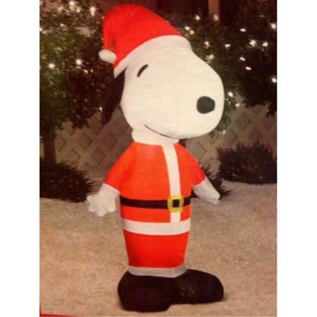 Gemmy Airblown Inflatable Snoopy Standing Dressed as Santa Claus - Indoor Outdoor Holiday Decoration, 3.5-foot Tall - Snoopy Inflatable