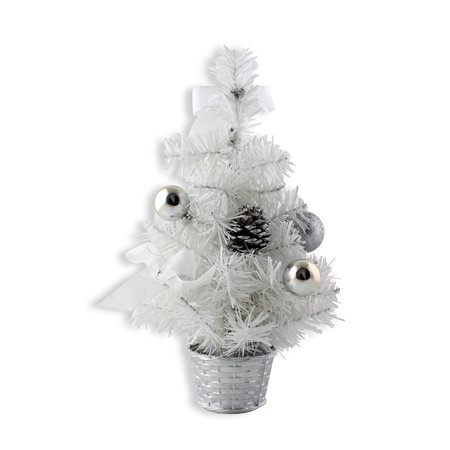12inch Mini Desk Top Table Top Decorated Christmas Tree with Bows & Baubles Ornaments Decorations, White Mini Bow Desktop