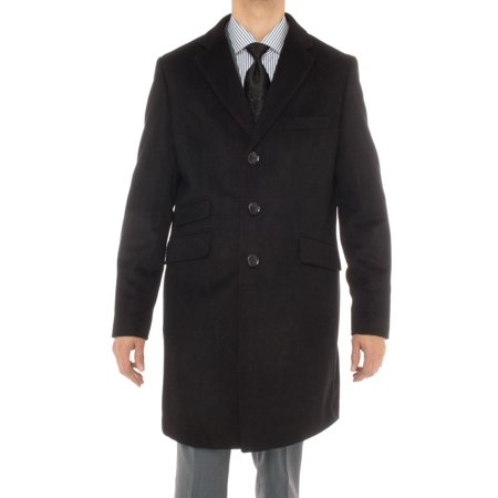 Luciano Natazzi Men's Cashmere Topcoat Modern Ticket Pocket Trench Coat Overcoat Black