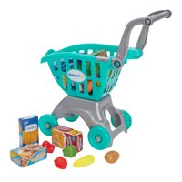 18-Pieces Spark Create Imagine Shopping Cart with Food Play Set