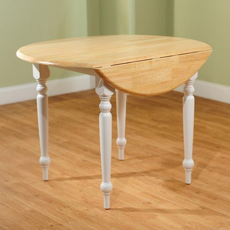TMS Round Drop-Leaf Dining Table, White/Natural