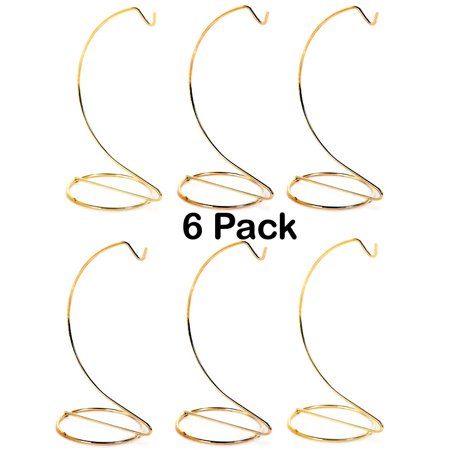 Creative Hobbies 10 Inch Tall Gold Metal Ornament Display Hanger Stands for Displaying Christmas Ornaments, Glass Terrariums, Etc.- Pack of 6 Stands