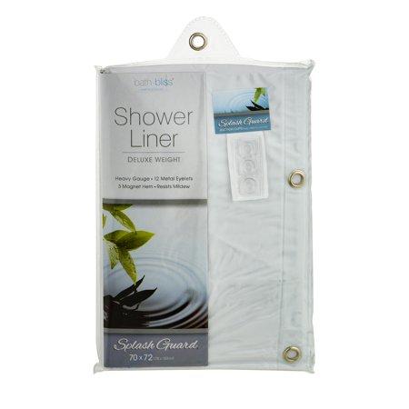 Bath Bliss Premium Splash Guard Shower Curtain Liner White