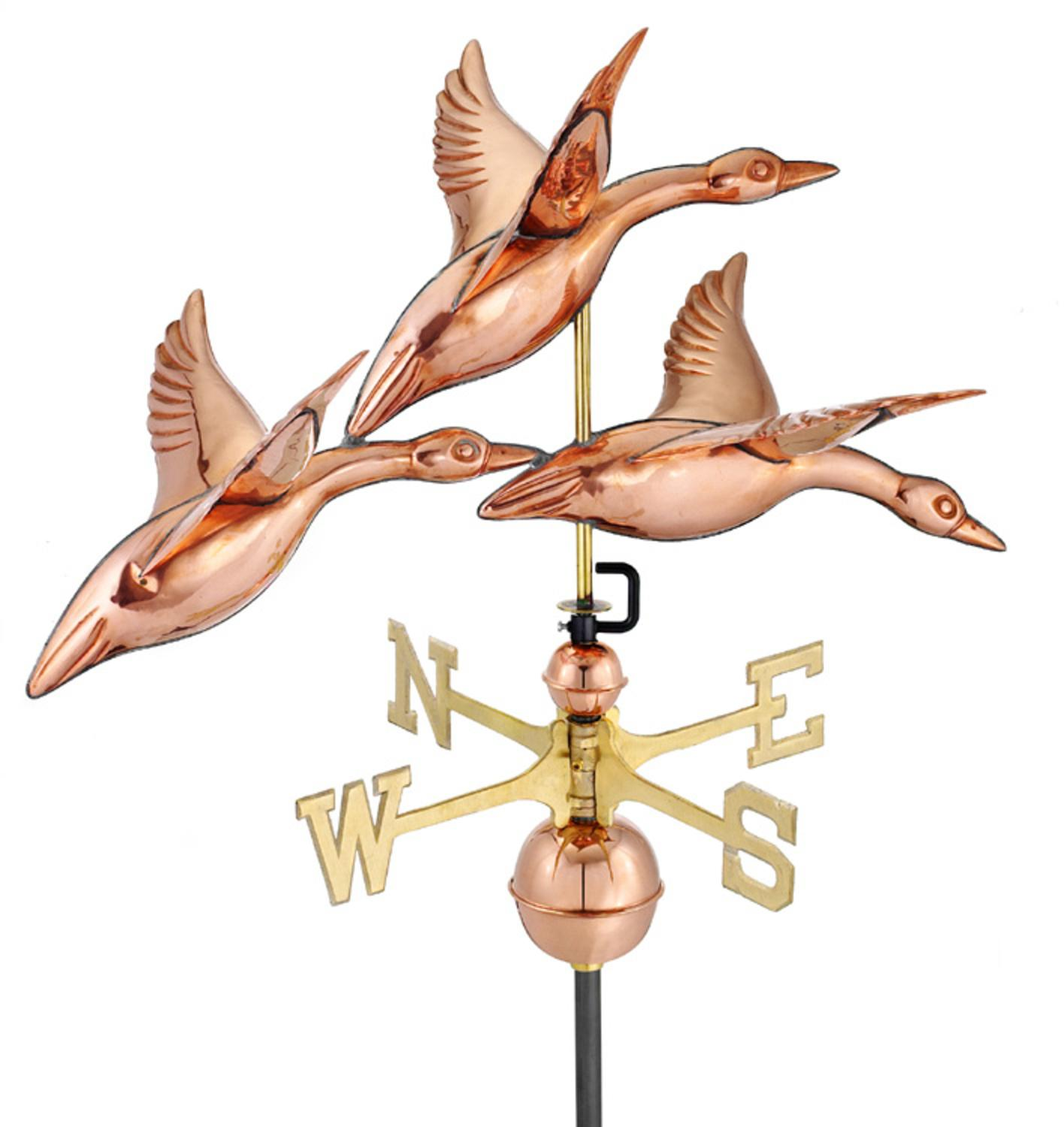 """28"""" Luxury Polished Copper Three Geese in Flight Weathervane by CC Home Furnishings"""