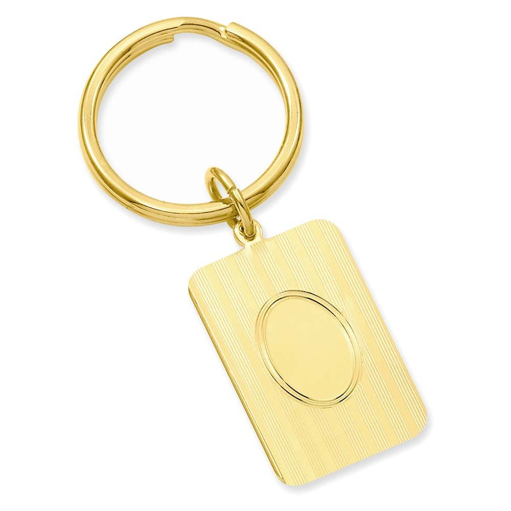 Gold-plated Horizontal Lines Key Ring by