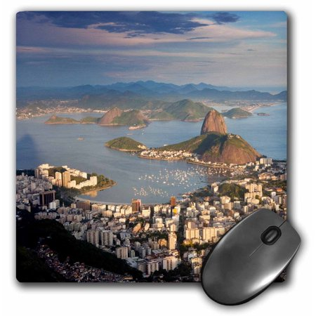 3dRose View over Sugarloaf mountain in Guanabara Bay, Rio de Janeiro - Mouse Pad, 8 by 8-inch