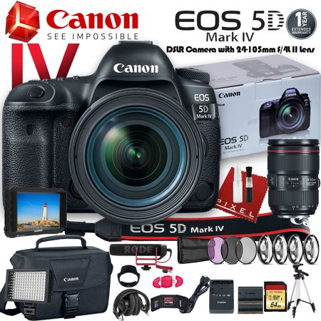 Canon EOS 5D Mark IV DSLR Camera with 24-105mm f/4L II Lens (USA Model) W/ Canon Bag, Extra Battery, LED Light, Mic, Filters, Tripod, Monitor and More - Professional