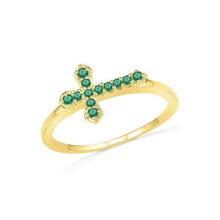 Created Emerald Cross - 10KT YELLOW GOLD LAB CREATED EMERALD CROSS RING