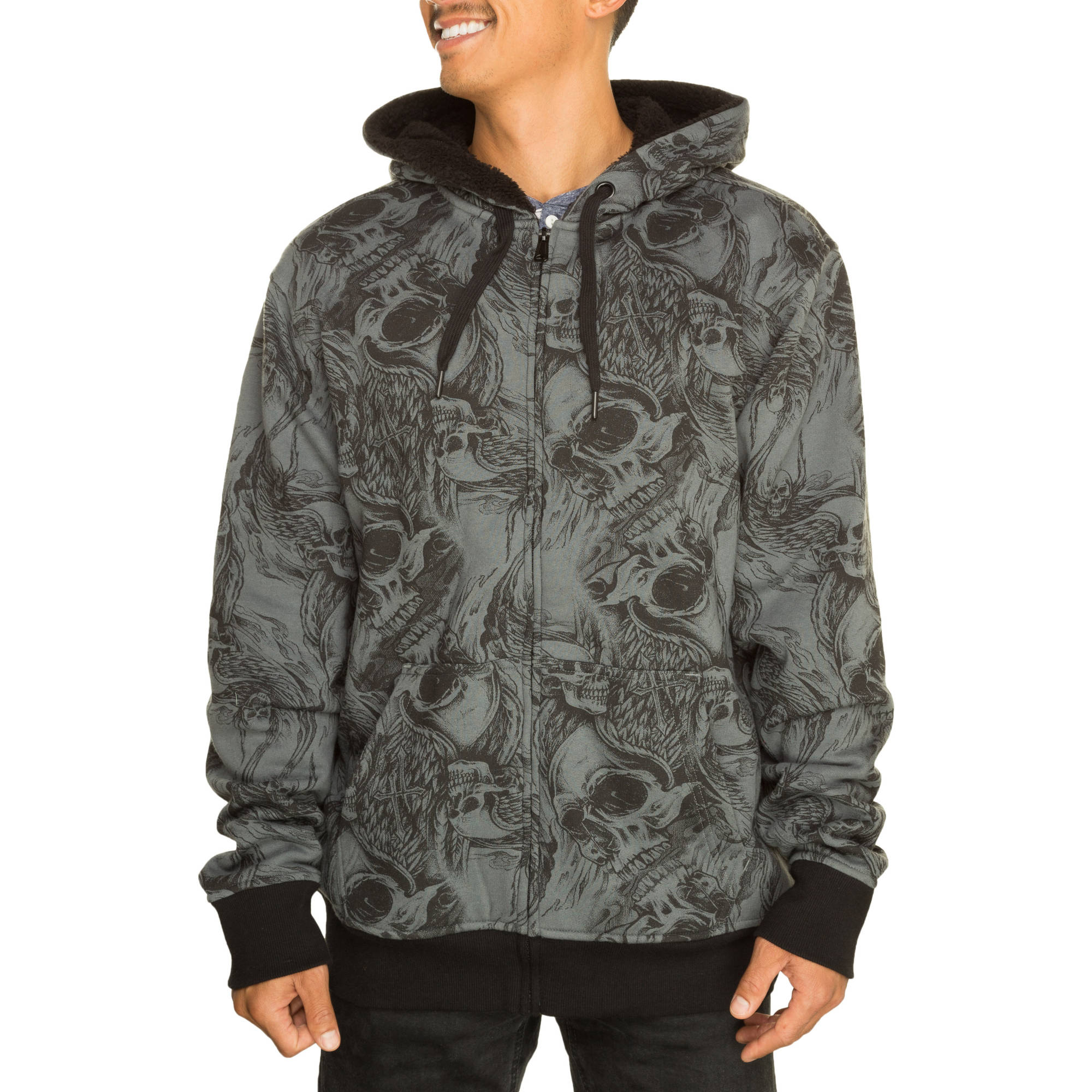 Faded Glory Men's Skull Sherpa Hoodie