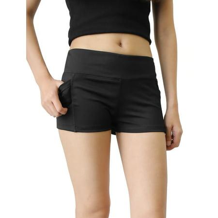 Black Quick Dry Elastic Waistband Skinny Running Yoga Sport Shorts Pants Size S
