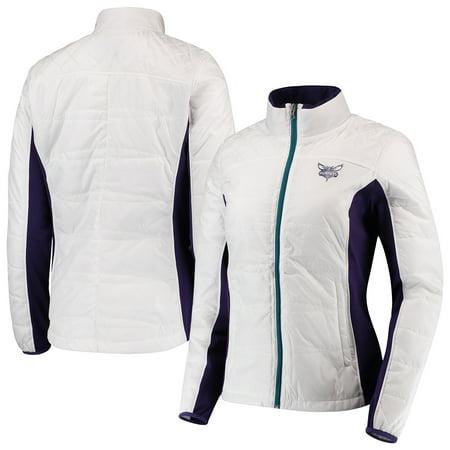 Grand Prix Jacket - Charlotte Hornets G-III 4Her by Carl Banks Women's Grand Slam Full-Zip Jacket - White/Teal