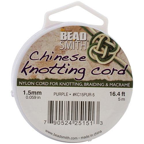 Chinese Knotting Cord, 1.5mm, 16-4/5' per Spool, Black