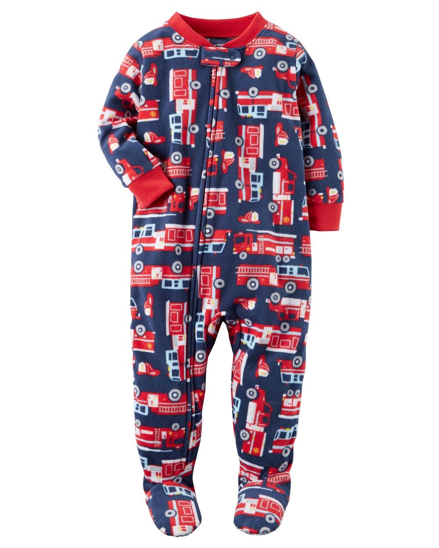 Carter's Baby Boys' 1 Piece Firetruck Fleece Pajamas, 8 Kids