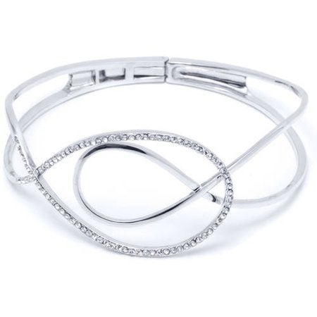 Crystal 18kt Gold-Plated Swirl Bangle