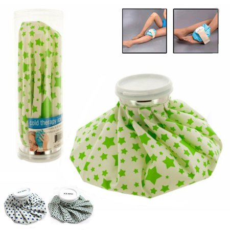 Ice Bag Cold Therapy (Reusable Ice Bag Pack 9 Inch Cold Therapy English Ice Cap Design First Aid Pain)