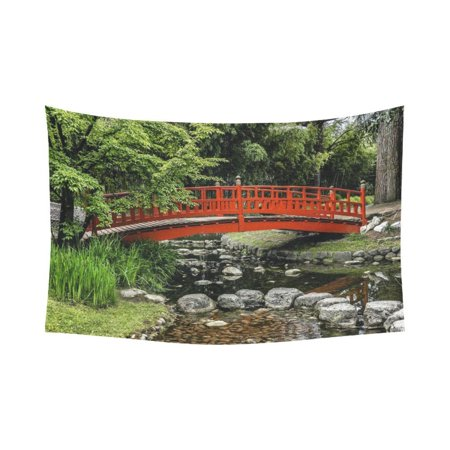 PHFZK Asian Wall Art Home Decor, Landscape with Japanese Bridge Tapestry Wall Hanging 90 X 60 Inches