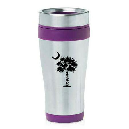 16oz Insulated Stainless Steel Travel Mug Palmetto Tree South Carolina Palm Moon (Purple)