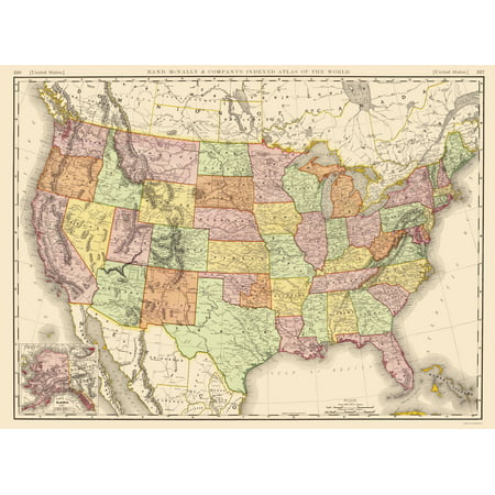 Old State Map - United States of America - Rand McNally 1897 - 23 x ...