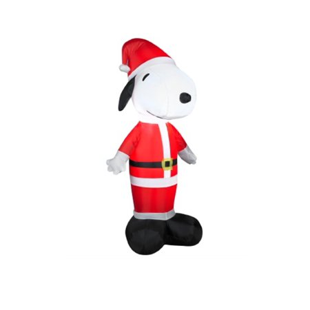 3.5' Inflatable Peanuts LED Lighted Snoopy Santa Claus Christmas Outdoor Decoration - image 1 ...