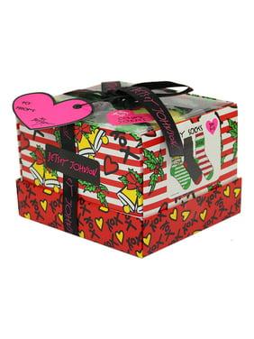 Betsey Johnson Ladies 3pk Holiday Bell Cozy Sock Box
