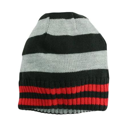Nolan Boys Striped Beanie Hat Reversible Winter Hat Black / Grey Size 4-14