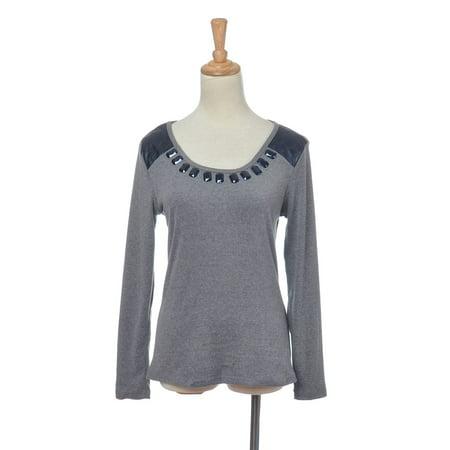 S/M Fit Grey Long Sleeve Shirt Top w Black Jewel Embellishment