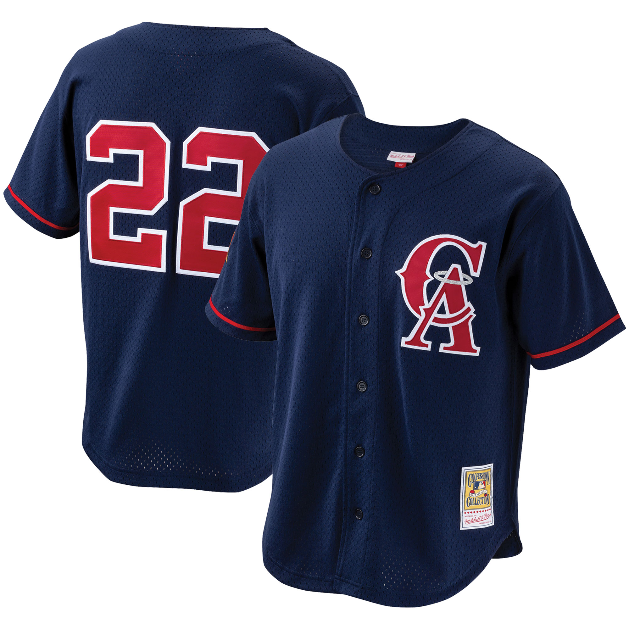 Bo Jackson California Angels Mitchell & Ness Cooperstown Collection Mesh Batting Practice Button-Up Jersey - Navy