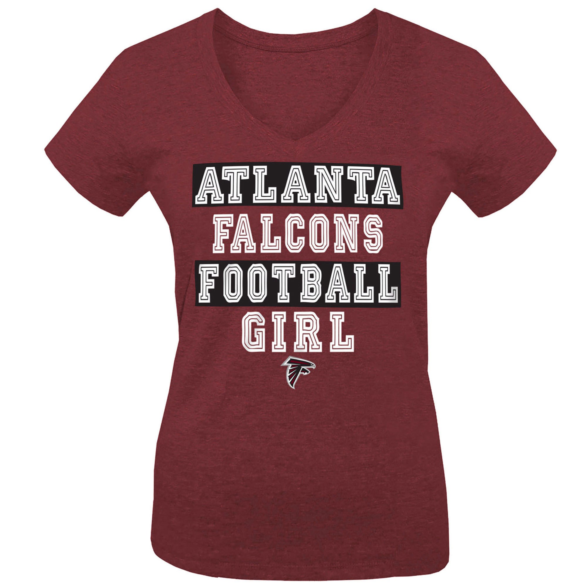 Atlanta Falcons 5th & Ocean by New Era Girls Youth Football Girl Tri-Blend V-Neck T-Shirt - Red