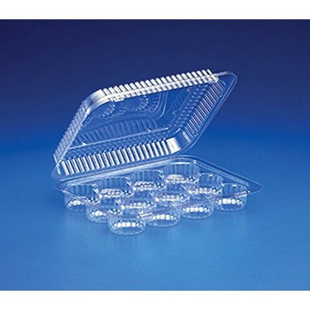 Mini Cupcake Box (12-Cup Compartment Clear Plastic Small Mini-Muffin Cupcake Container (Pack of)
