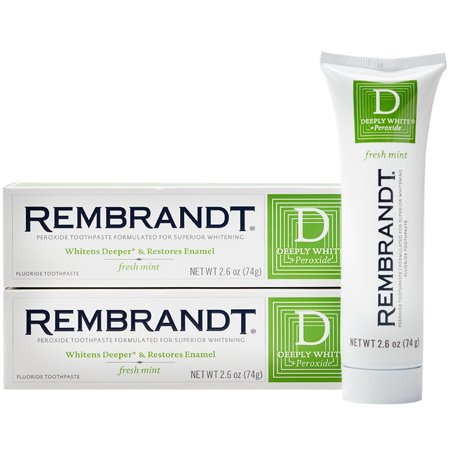 - Rembrandt Deeply White + Peroxide Whitening Toothpaste, Fresh Mint Flavor, 2.6-Ounce (2 Pack)