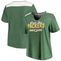 Green Bay Packers Majestic Women's Notch Neck Plus Size T-Shirt - Heathered Green