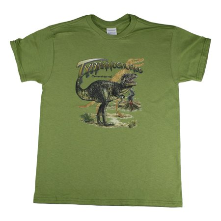 Little Boys Green Tyrannosaurus Dinosaur Print Short Sleeve Cotton T-Shirt