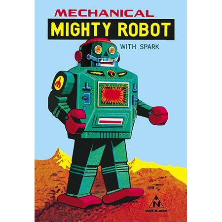 - 1960s tin toy box artwork made for Noguchi for the Mechanical Mighty Robot with Spark  The robot was tinplate clockwork model is metallic green with tinprinted details sparking action to red plastic c