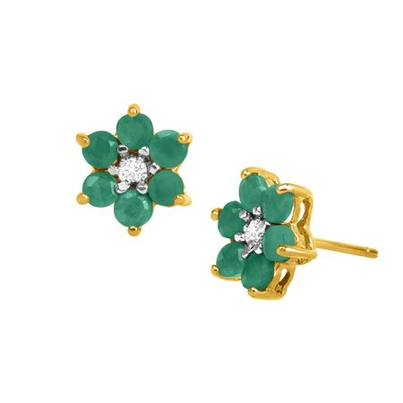 1 ct Natural Emerald Flower Stud Earrings with Diamonds in 18kt Gold-Plated Sterling Silver