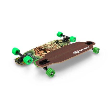 Fathom by Shark Wheel Kraken Mini Drop Longboard Skateboard Complete, Brown