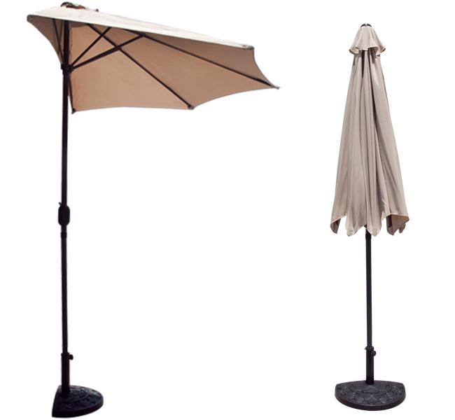 10u0027 FT Feet Beige Outdoor Patio Half Umbrella Wall Balcony Sun Shade U0026 Base