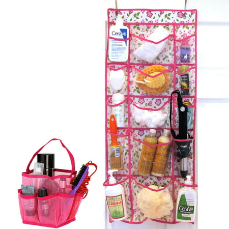 Over The Door Storage Organizer 15 Pockets Mesh Shower Caddy Bag Bathroom Tote Quick