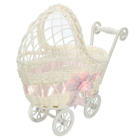 Baby Shower Carriage Wicker Table Centerpiece Favors Girl Gifts Decorations Pink (Baby Shower Decor For Girls)